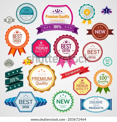 Color sale premium quality best choice exclusive labels set isolated  illustration