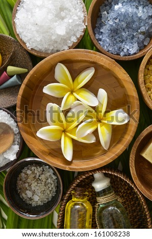 color sea salt in wooden bowl with perfume ,massage oil on green leaf