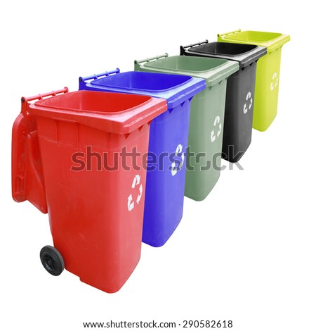 Color set garbage plastic bins isolated on white background. This has clipping path. - stock photo