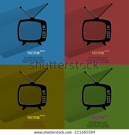 Color set Retro tv. Flat modern web button with long shadow and space for your text. . - stock photo