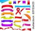 Color Set, Ribbons Set, Isolated On White Background - stock photo