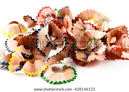 Color shavings pencils on white background. Horizontal image.