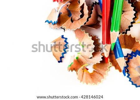 Color shavings pencils with pencils color viewed from above. Horizontal image.