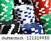Color shot of a stack of various poker chips - stock photo