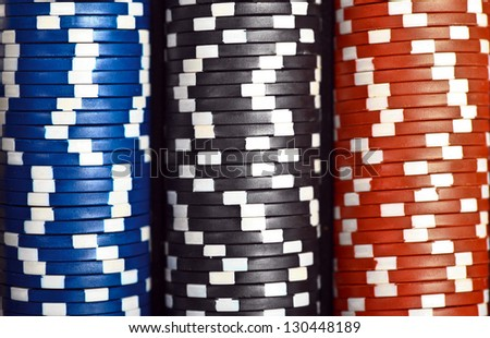 Color shot of a stack of various poker chips