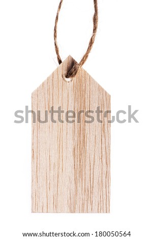 Color shot of a wooden tag with a rope, isolated on white - stock photo