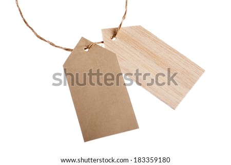 Color shot of two tags with a rope, isolated on white. - stock photo