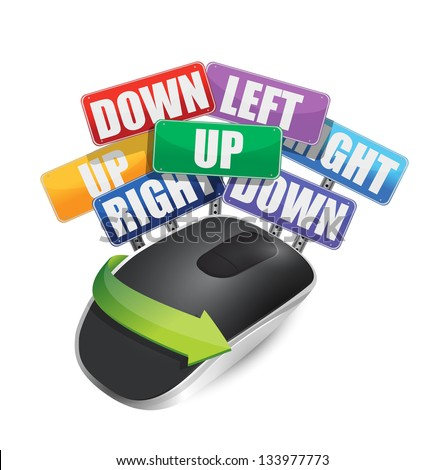 color signs and Wireless computer mouse isolated on white background