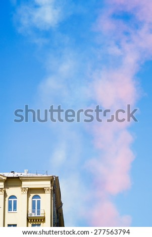 Color smokes made by jet aircrafts against blue sky background. Moscow, Russia.  - stock photo