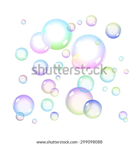 Color Soap Bubbles Set with Transparency - stock photo