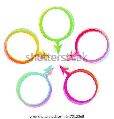 color speech bubbles raster image - stock photo