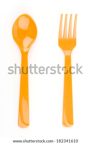 color spoon fork dish plastic isolated white background - stock photo