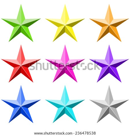 Color star set isolated on white background. Flat colors used, no gradients. - stock photo