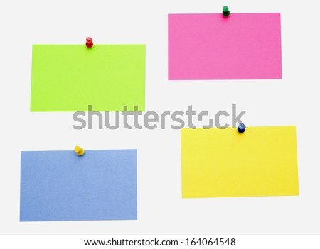 color sticky notes isolated over white