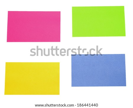 color sticky papers over white