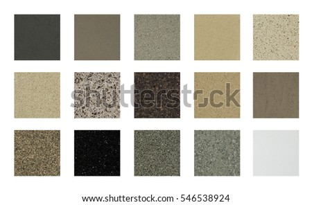 color stone samples for kitchen counter tops or floor tiles on white background