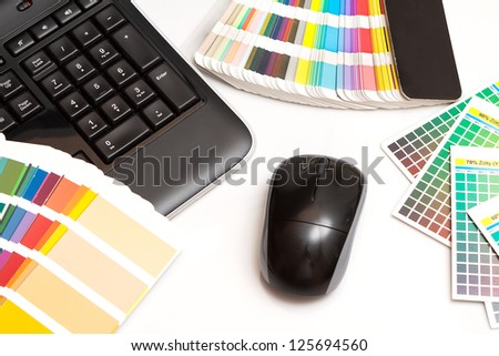 color swatches and keyboard - stock photo