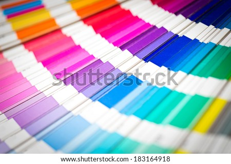 Color swatches book. Rainbow sample colors catalog. - stock photo