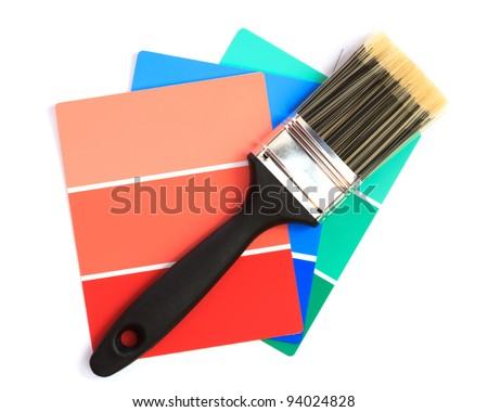 color swatches with paintbrush - stock photo