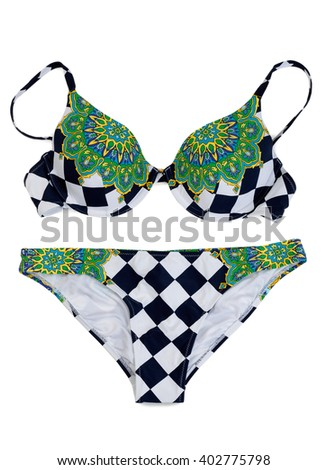Color swimsuit collection. Isolate on white. - stock photo