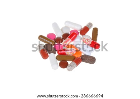 color tablets isolated on white background