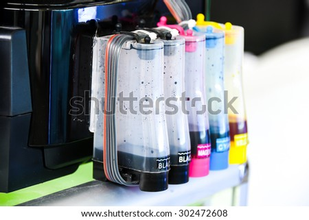 color tank on inkjet printer - stock photo