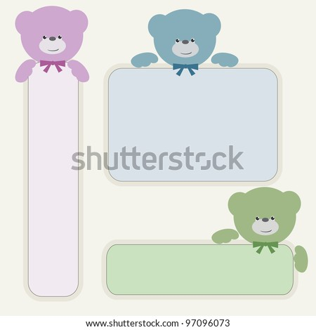 Color teddy bear with banner