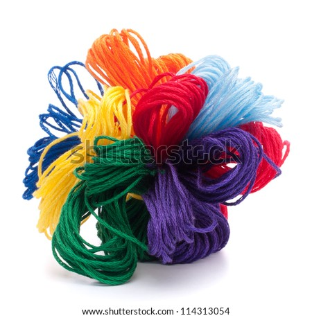 Color threads bunch isolated on white background cutout - stock photo