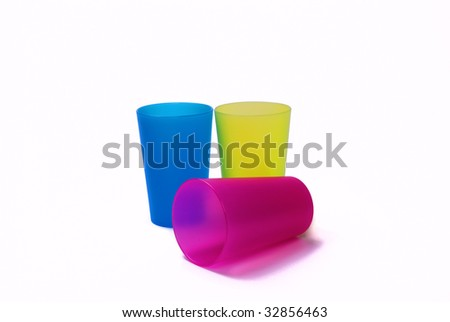Color toothbrush holders on white background