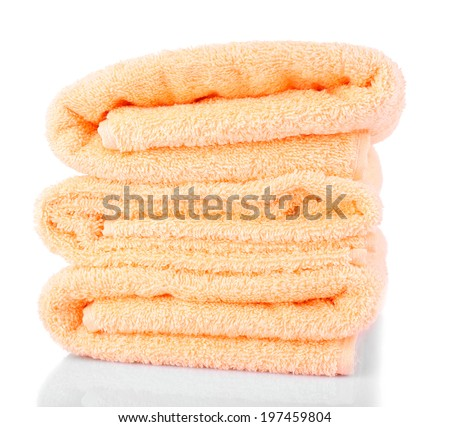 Color towels, isolated on white - stock photo