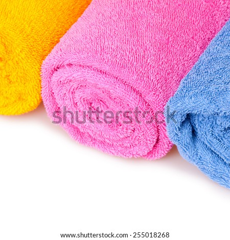 color towels isolated on white - stock photo