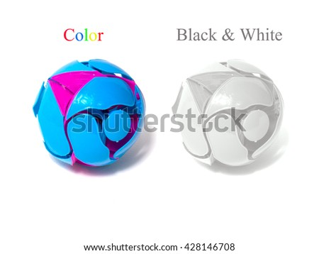 Color toy ball and black and white toy ball on white with background