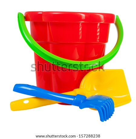 color toys: bucket shovel rake - stock photo