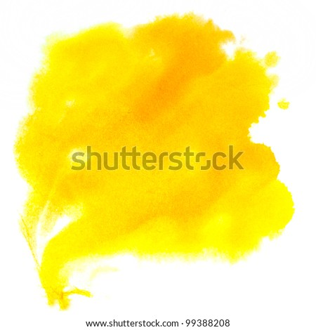 color watercolor paint spot yellow desert ight brown; macro blotch texture watercolour isolated white background - stock photo