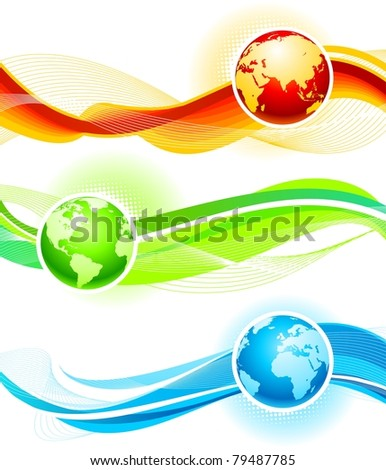 Color waves and globes - stock photo