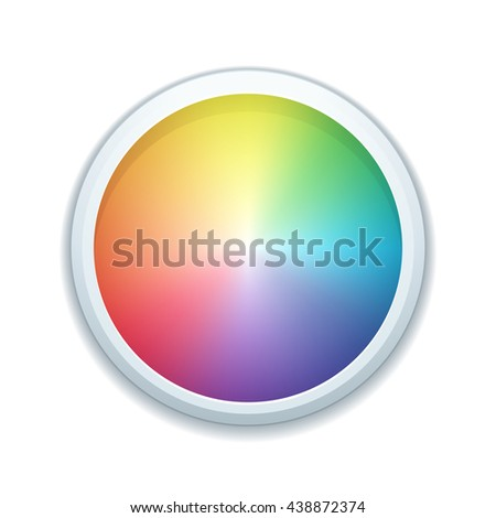 Color wheel button - stock photo