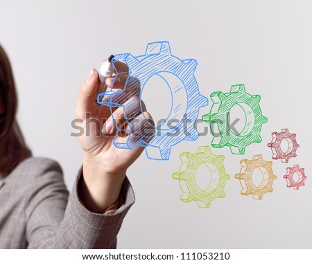 Color wheels as symbols of engineering and design - stock photo