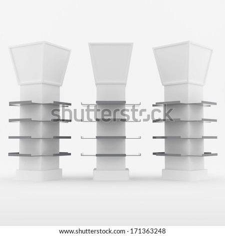 Color white shelves design for poles covered on white background - stock photo