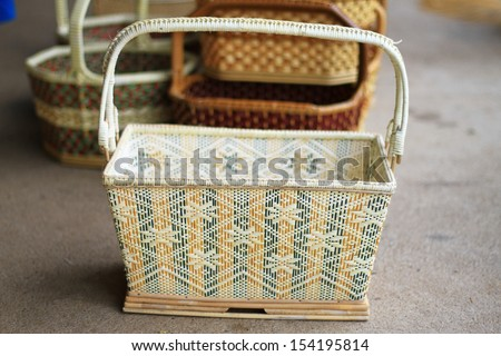 Color wicker basket made with bamboo, Thailand traditional handmade basket