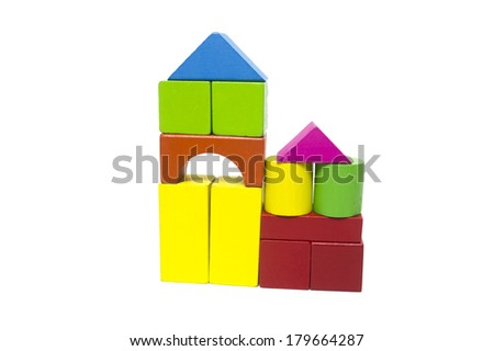 Color wooden building block for children on white background