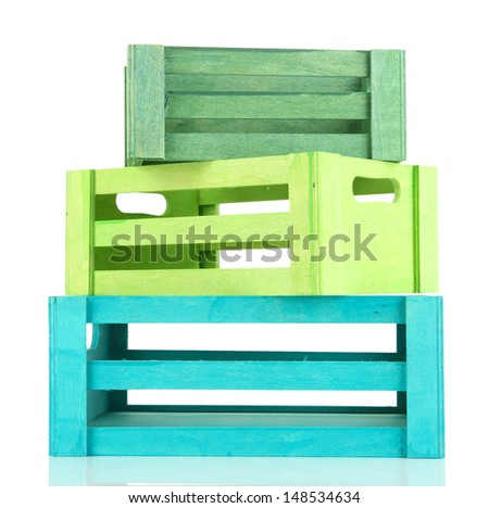 Color wooden crates, isolated on white