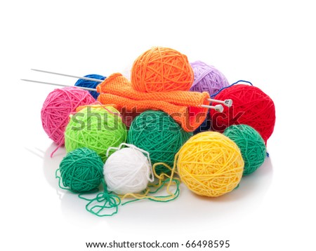 Color woolen clew for knitting on a white background - stock photo