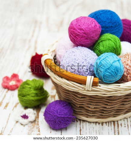 color woolen clews for knitting in a basket - stock photo