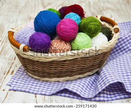 color woolen clews for knitting in a basket