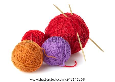 Color yarn balls - stock photo