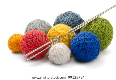 Color yarn balls and knitting needles isolated on white - stock photo