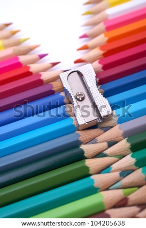 Color zipper made of metal sharpening and color pencils - stock photo
