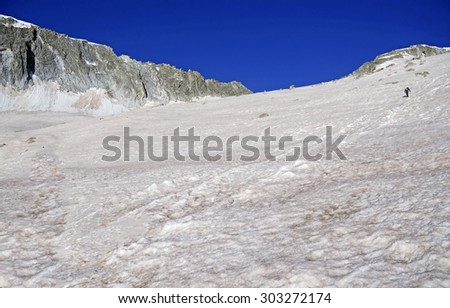 Colorado 14er, Snowmass Mountain in Spring snow, Elk Range, Rocky Mountains, USA - stock photo