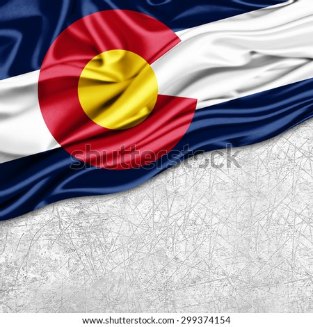 Colorado   flag of silk with copyspace for your text or images and wall background