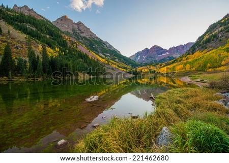 Colorado Mountains in Fall. Maroon Lake near Aspen, Colorado, USA. Rocky Mountains Autumn Landscape. - stock photo